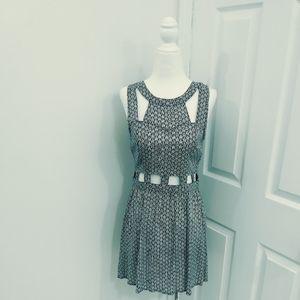 Grey Arrow Pattern Cutout Dress
